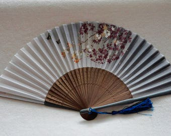 Silk Gray Sakura and butterfly Hand Fan with sleeve -Handheld Folding Fan, Japanese Hand Fan,folding fan,Cherry blossom