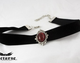 Gothic Choker - Ornate Silver Frame with Red Stone - Victorian Gothic Jewelry