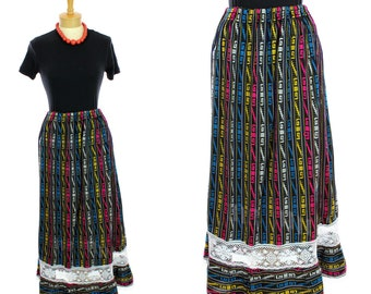 70s Mexican Skirt Hippie Boho Bohemian Rainbow Striped Lace Ruffle Ethnic Oaxacan 1960s 1970s 60s Vintage Small S Medium M One Size