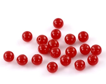 Cherry Red Acrylic Beads - 8mm - 50 beads - #RB102