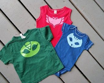 Custom PJ Mask shirts; Girls PJ mask shirt; PJ mask costume; pj mask birthday outfit; pj masks birthday gift, Family Matching pj masks shirt