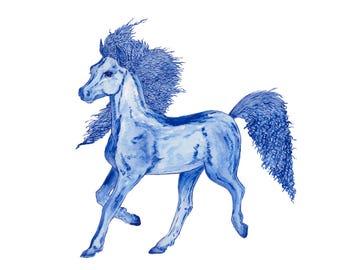 Ltd Edition - A4 & A3 Canvas Print - Original Artwork - Pony