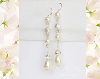 Long Pearl Earrings, Bridal pearl drop earrings, Long Bridal Earrings, Wedding jewelry Earrings, Wedding Jewlery, Bridal jewelery, art 236-1