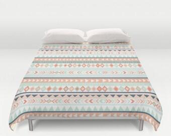 Mint & Coral Tribal Duvet Cover - Tribal Bedding - Teen Bedding - Toddler - Girls Room Decor