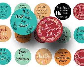 Religious sayings 1 inch circles digital download -  Religious quotes printable -  Pendants -  Key chains -  Magnets -  Planner stickers