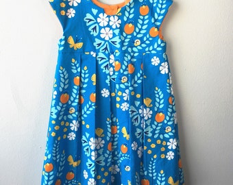 4T Organic Geranium dress, 100% Organic Cotton Meadow Blossoms Blue, Cloud9 Fabric, Blue, Orange, White