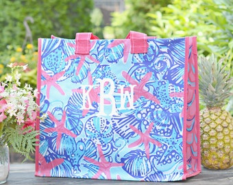 Monogrammed Lilly Pulitzer Market Tote Bag, Authentic Lilly Pulitzer, Reusable Bags, Bridesmaids Tote Bags