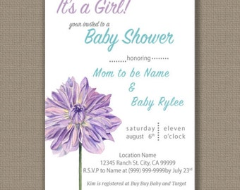 Purple Dahlia Flower Baby/Bridal Shower Invitation_Download Only