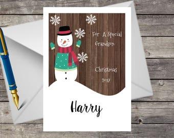 Personalised Handmade Christmas Card, Snowman, Grandson, Son, Brother, Nephew, Godson, Uncle, Etc..