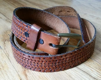 genuine leather belt braided leather belt brown leather belt russet belt vintage leather belt western belt large/ xl 40- 45