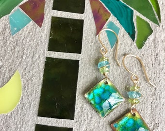 Hand Made Enamel And Gemstone Earrings, Gemstone Drop Earrings, Apatite Peridot Earrings, Torch Fired Enamel.