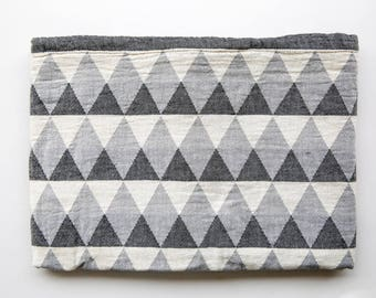 Gray Throw Blanket | Triangle Blanket | Geometric Throw | Boho Picnic Blankets | Organic Cotton Sofa Blanket | College Student Gift/ Couples