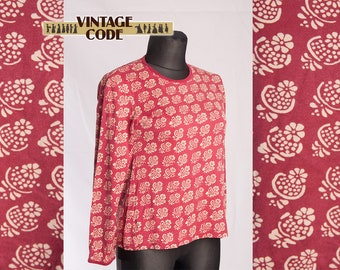 Marimekko Wine Red Floral Top Long sleeve Cotton Shirt /  Finnish Finland clothing / size Large