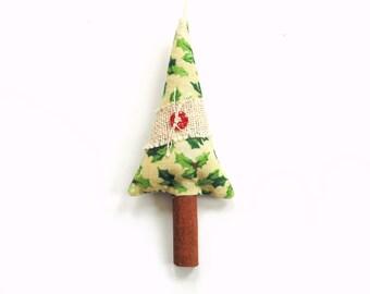 Cinnamon stick tree sachet, holiday ornament, tree trimming, scented sachets, Balsam Christmas, cinnamon tree, balsam sachet