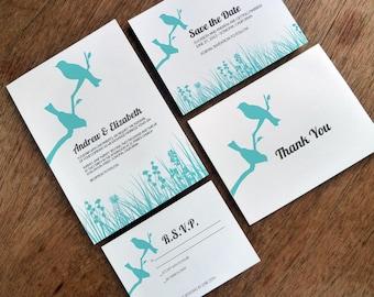 Printable Wedding Invitation Set - Lovebirds - Turquoise Wedding Printables - Birds on a Branch Invitation, Save the Date, RSVP & Info PDFs