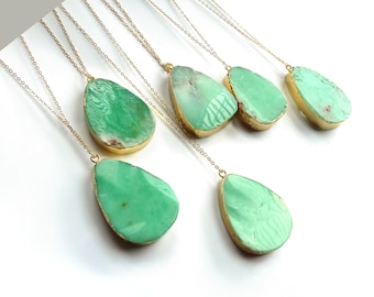 Chrysoprase Necklace Natural Genuine Green Gemstone Pendant Gold Layering