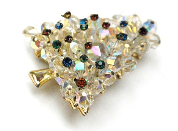 Crystal  Christmas Tree Brooch - Green Red rhinestones - bead cluster  gold plated - Holiday Pin