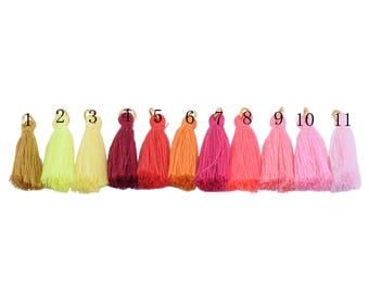 50pcs Silky Handmade Tiny(1.4'') Soft Tassels, Mini Tassels, Spring Colors, Colorful Tassels, Earring Tassels-33 different colors avail.