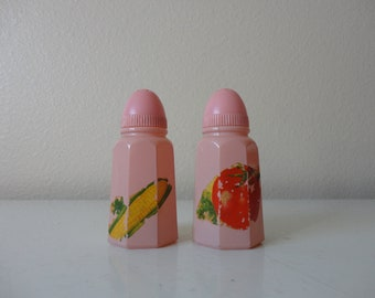 VINTAGE pink glass SALT and PEPPER shakers - hazel atlas shakers - corn and tomato decals