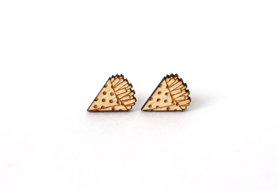 French fries studs - tiny post earrings - mini food jewelry - graphic jewellery - kitsch - lasercut wood - hypoallergenic surgical steel