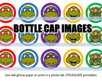 "Ninja turtles tmnt 4x6 - 1"" circles, bottle cap images, stickers"