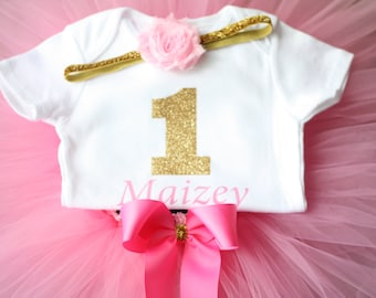 Pink and Gold First Birthday Outfit