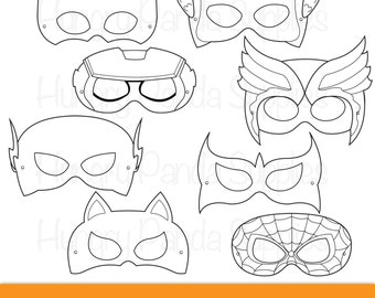 Superhero mask etsy for Superhero mask template for kids