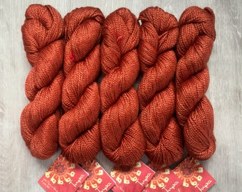 Mirasol TUPA Silk Merino DK Yarn 8.99 +1.25ea to Ship - Amber 802 - Burnt Orange Rust - Lasting Color, Sheen, Form. Free Patterns MSRP 12.00