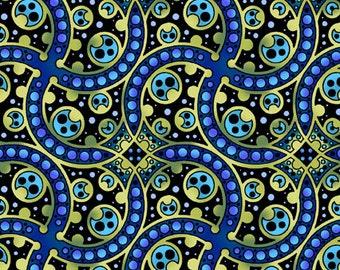 Deco  Fabric Blue Green Swirls 1/2 Yard 5DEC3