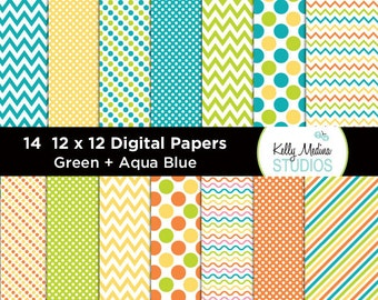 Transportation Green and Aqua - Designer Paper Pack - Digital Elements for Cards, Stationery, Backgrounds, Paper Crafts and Products