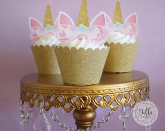 Unicorn Cupcake Topper, Unicorn cake, Unicorn Birthday, Unicorn Party, Unicorn Cake Topper, Unicorn head, Unicorn Decoration, Gold