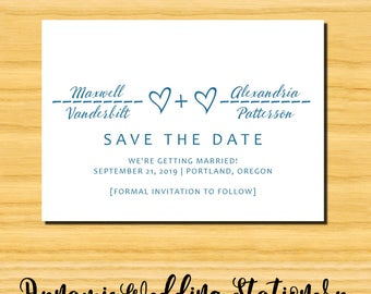 Heart Equation Geeky Nerdy Digital DIY Printable Wedding Save the Date Announcement