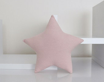 Mini STAR PILLOW CUSHION - Solid Cotton - Dusty Blush Pink - Nursery Baby Room Decor Decoration - Soft Toy