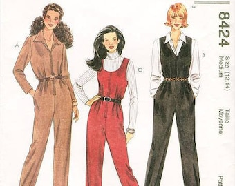 Sz 12/14 - McCall's 8424 - Misses' Long Sleeve or Short Sleeves, Front Zipper Jumpsuit  Sewing Pattern