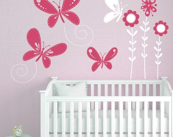 Wall decals STITCHED BUTTERFLIES & FLOWERS Surface graphics Interior decor by Decals Murals (Med)