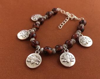 lotus bracelet, casual bracelet, beaded charm bracelet, bracelet for wife, bracelet for girlfriend, silver bracelet, gift under 25