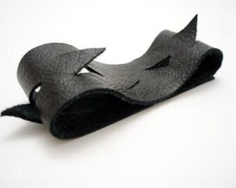 Chevron Cuff Bracelet - Leather / Suede Reversible Bracelet - Magnetic Bracelet  - Black Leather Cuff Bracelet - Spiked Bracelet