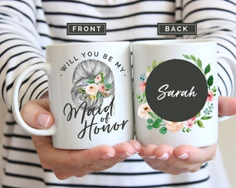 Maid of Honor Mug, Maid of Honor, Bridesmaids Mugs, Maid of Honor Gift, Bridesmaid Gift, Wedding Party Gift, Bridal Party Gift, Personalized