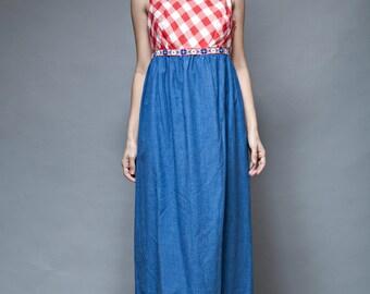 gingham maxi dress, red white blue, gingham plaid dress, sleeveless dress, vintage 70s cotton chambray empire waist LARGE L