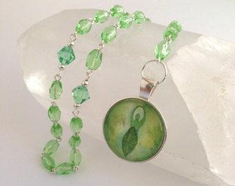 Green Goddess Rosary // Prayer Beads // Gaia // Danu // Earth Goddess // Pagan // Wiccan