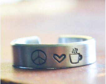 Peace Love Coffee Ring - Hand Stamped Coffee Adjustable Ring - Best Friends Jewelry - Peace Sign