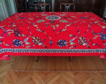 NEW - Tablecloth with classical Turkish/Ottoman design -  large rectangle - red