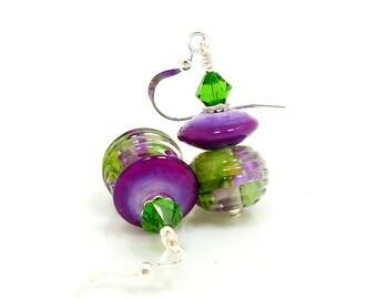 Purple Green Earrings, Lampwork Earrings, Glass Earrings, Glass Bead Earrings, Unique Earrings, Unusual Earrings, Glass Bead Jewelry