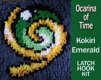 Kokiri Emerald - Spiritual Stone of the Forest - Legend of Zelda: Ocarina of Time - DIY Latch Hook Kit 8*9 Inches