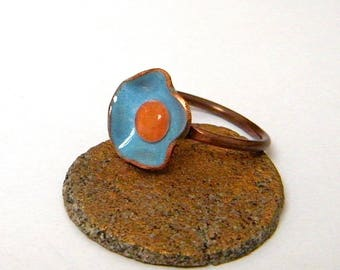 Minimalist ring - copper - enamel