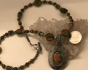 Wire Wrapped Unakite Pendant Necklace