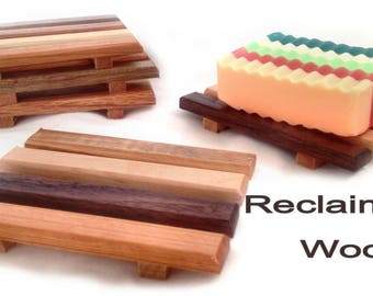 60 reclaimed wood soap dishes - natural wood as low as 1.25 each - Handmade in Portland, OR USA