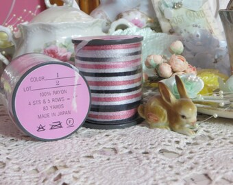 Paris Chic Vintage Millinery Ribbon-Black and Pink-5 yards-Made in Japan
