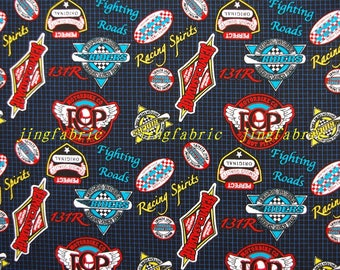 C357 - 140cmx100cm Cotton Fabric - Racing team logo and grid