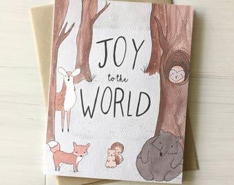 Joy to the World - Woodland Christmas Card, Forest Christmas, Peaceful Christmas, Bear Card, Woodland Card, White Christmas Card, Snow scene